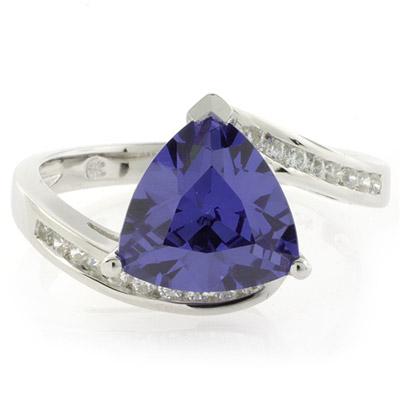 Silver Trillion Cut Tanzanite Ring Silverbestbuy
