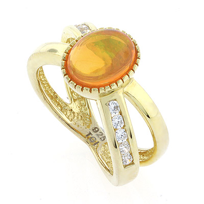 Gold Plated Fire Jelly Opal Ring