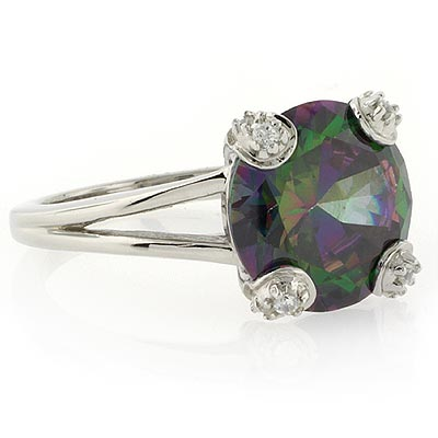 Round Cut Silver Ring with Mystic Topaz
