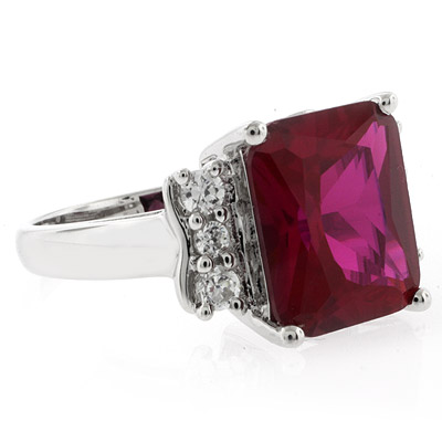 Sterling Silver Emerald Cut Big Red Ruby Ring Silverbestbuy