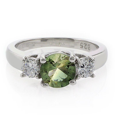 Round Cut Tourmaline Gemstone Silver Engagement Ring