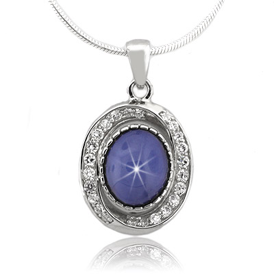 Blue star sapphire sterling silver necklace silverbestbuy blue star sapphire sterling silver necklace aloadofball Gallery