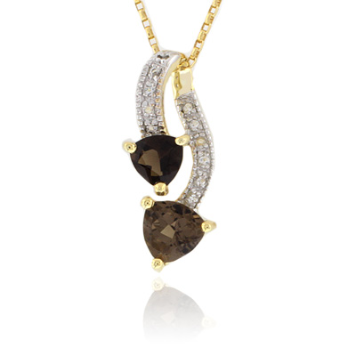 Two Stone Smoked Topaz Sterling Silver Pendant