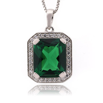 Vintage Style Emerald Sterling Silver Pendant