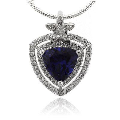 Blue Sapphire Trillion Cut Stone Flower Pendant