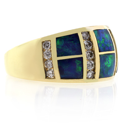 14k Yellow Gold Natural Opal Diamond Ring