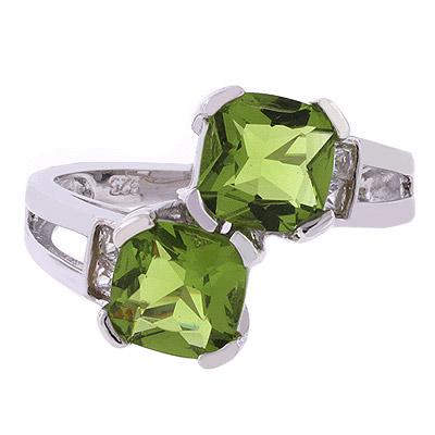 2 Stone Peridot Silver Ring