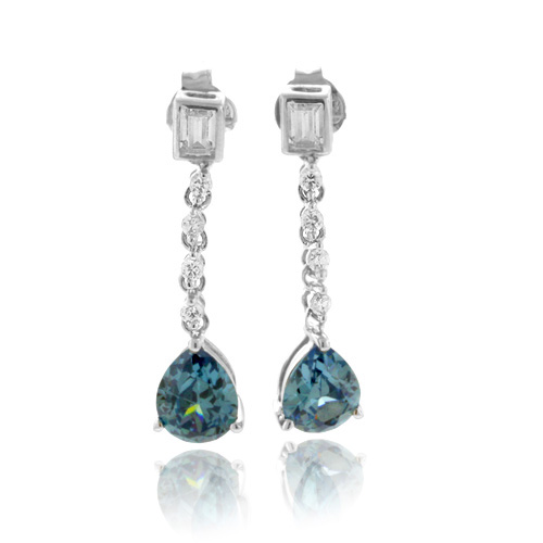 chagne colored earrings alexandrite color change dangling silver earrings 164