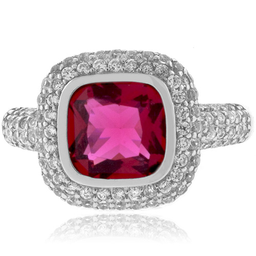 Cushion Cut Tourmaline Ring in Sterling Silver