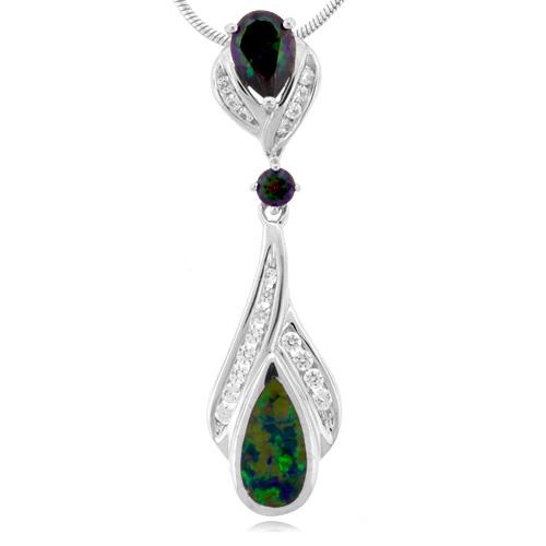 Elegant Mystic Topaz And Australian Opal Pendant