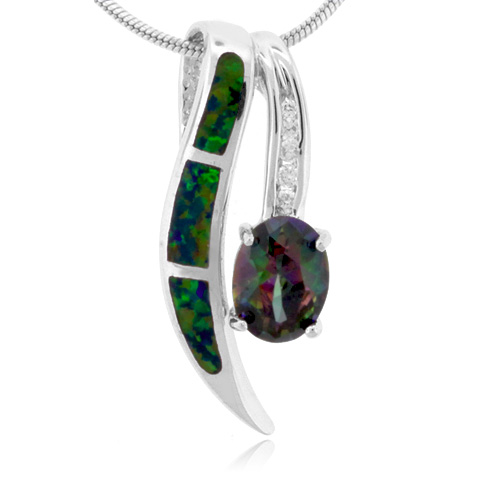 Oval Cut Mystic Topaz Sterling Silver Pendant