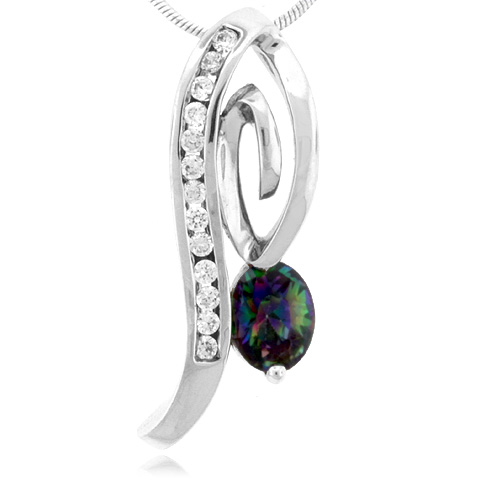 Oval Cut Rainbow Mystic Topaz Sterling Silver Pendant