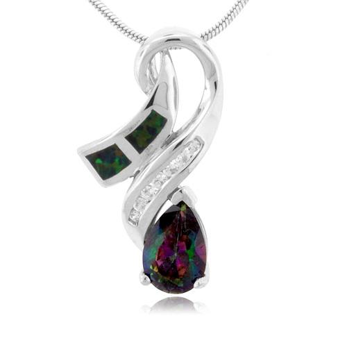 Pear Cut Topaz And Opal Silver Pendant