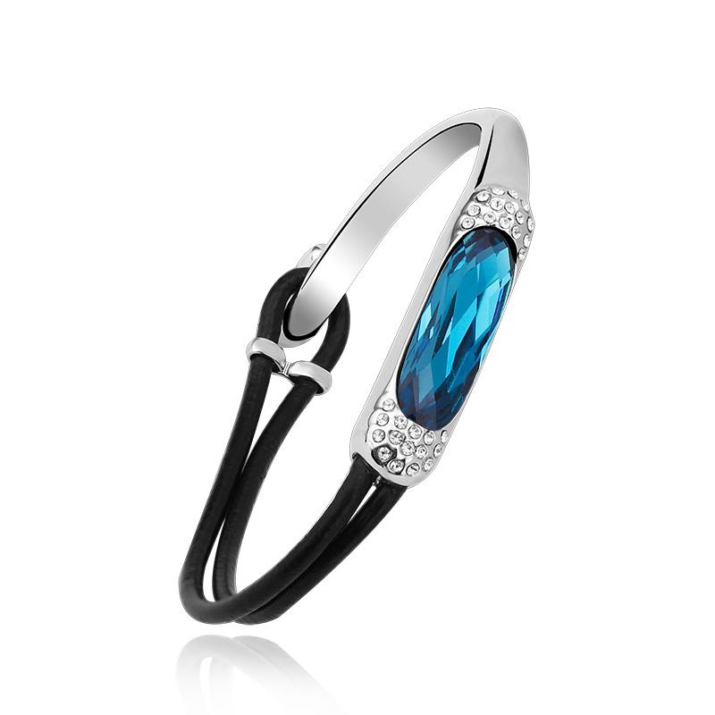 Swarovski Elements 18K White Gold Plated Blue Bracelet