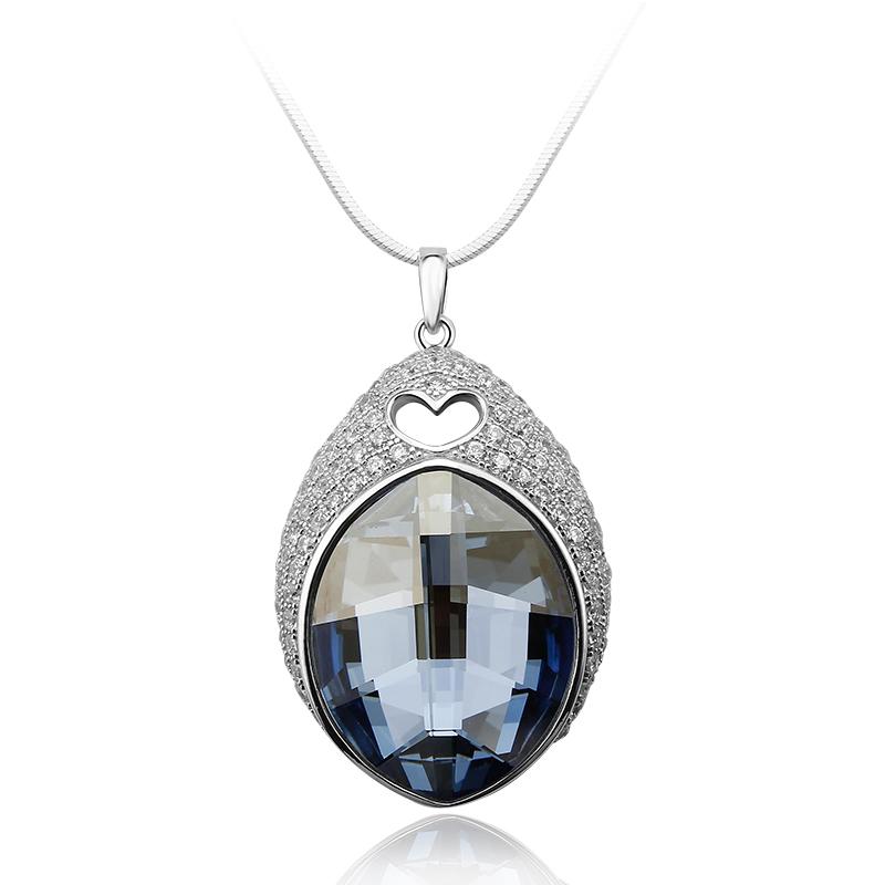 Blue Shade Sterling Silver Swarovski Crystal Pendant