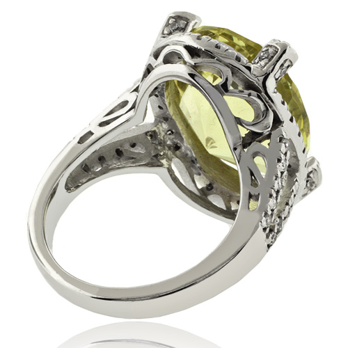 Beautiful Natural Yellow Citrine 14K White Gold Ring