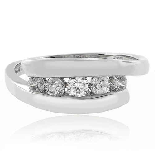 5 Simulated Diamond Engagement Silver Ring