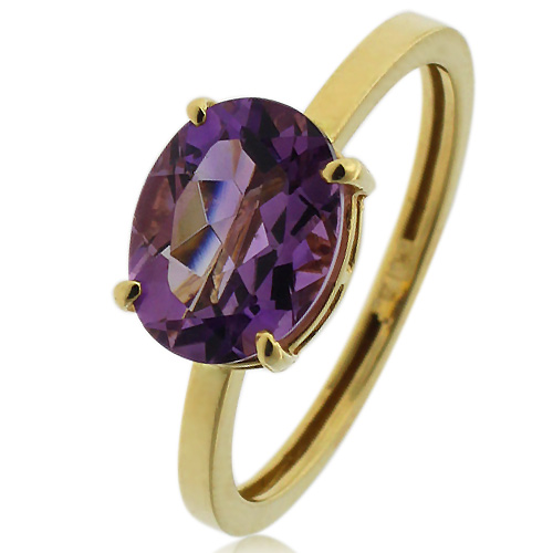 Genuine Amethyst 14K Yellow Gold Ring