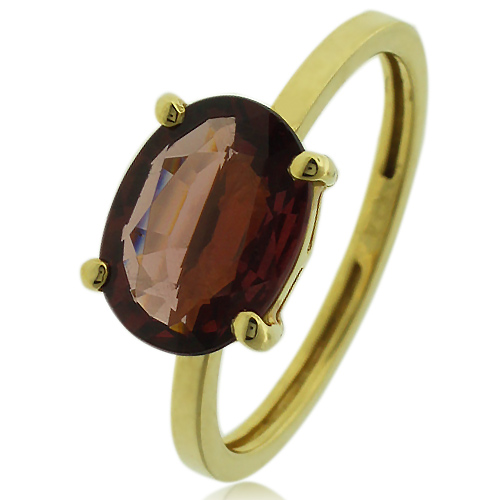 Genuine Garnet Engagement 14k Yellow Gold Ring