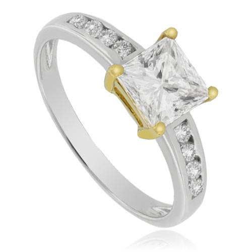 Princess Cut Engagement Silver Ring