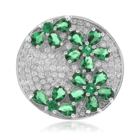 Beautiful Micro Pave Emerald .925 Silver Ring
