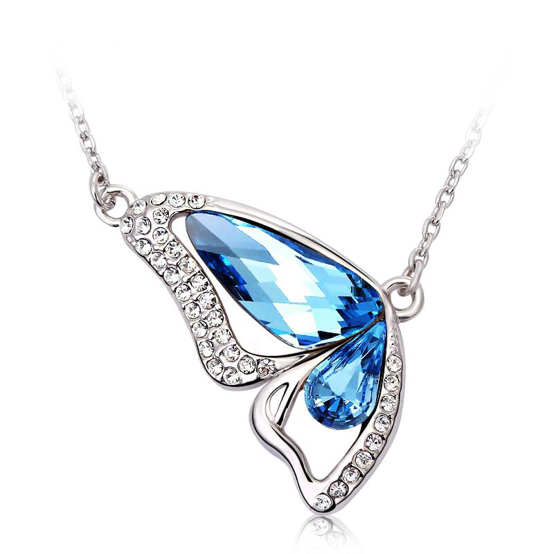 creations s sherry product butterfly necklace blue