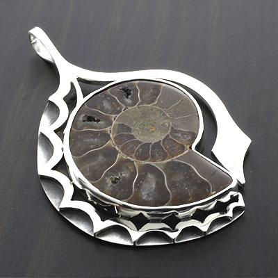Sterling silver genuine fossil ammonite pendant aloadofball Images