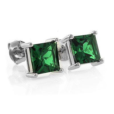 Silver Emerald Earrings