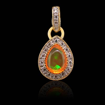 Fire opal mexican pendant silverbestbuy 14k gold plated quality fire opal silver pendant aloadofball Image collections