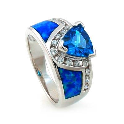 Australian Opal Ring with Trillion Cut Blue Topaz