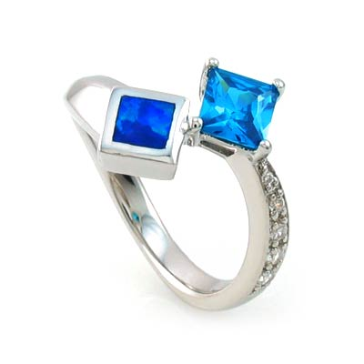Australian Opal Ring with Princess Cut Blue Topaz