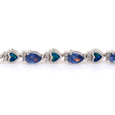 Australian Opal with Tanzanite Bracelet