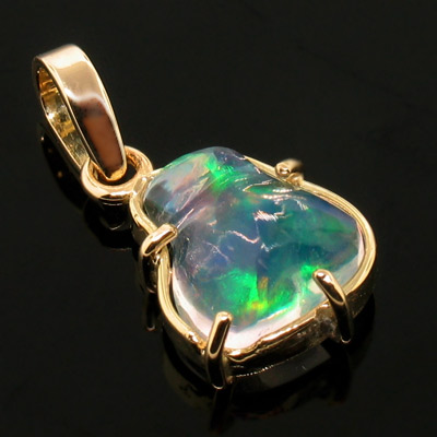 Highest Quality 14k Gold Mexican Fire Opal Pendant One Of