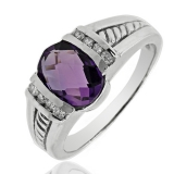 14k Solid White Gold Amethyst Diamond Ring