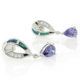 Australian Opal with Tanzanite Earrings