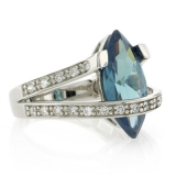Marquise Cut Sterling Silver Alexandrite Ring