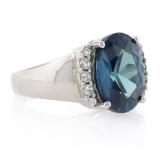 Big Alexandrite Gemstone Silver Ring