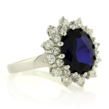 Sterling Silver Sapphire Ring with Simulated Diamonds