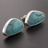 Triangular Turquoise Gemstone Silver Studs
