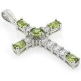 Silver Cross Peridot Pendant