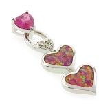 Pink Opal Hearts Pendant