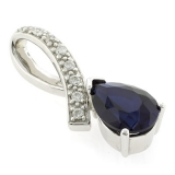 Sapphire Slide Silver Pendant