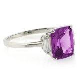 Alexandrite Emerald Cut Ring Changing Color Stone