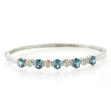 White Australian Opal and Alexandrite Silver Bangle
