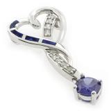 Opal and Tanzanite Heart Silver Pendant
