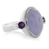 Genuine Pink Jade and Amethyst Silver Ring