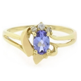 14k Solid Yellow Gold Tanzanite Diamond Ring