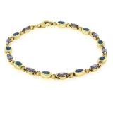 Opal and Tanzanite Bracelet In Sterling Silver 7.5""