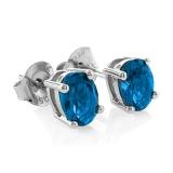 Sterling Silver Blue Topaz Oval Cut Earrings