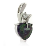 Mystic Topaz Silver Heart Solitaire Pendant
